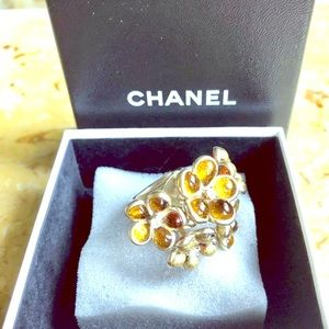 2007 CHANEL CAMELLIA RING AMBER GIPOIX GP! $ FIRM$